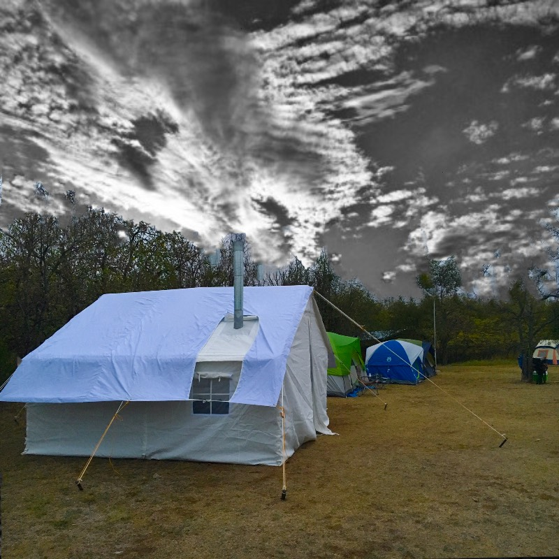 Elk mountain tents photos and video canvas tents wall for Canvas tent fly
