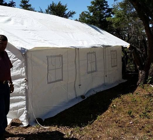 large canvas tent windows