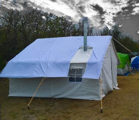 canvas tent with fly