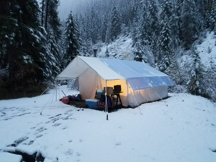 canvas tent in snow
