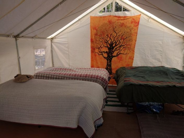 glamping tent with beds