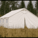 canvas tent in field