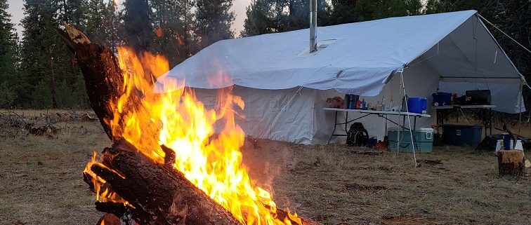 wall tent with fire