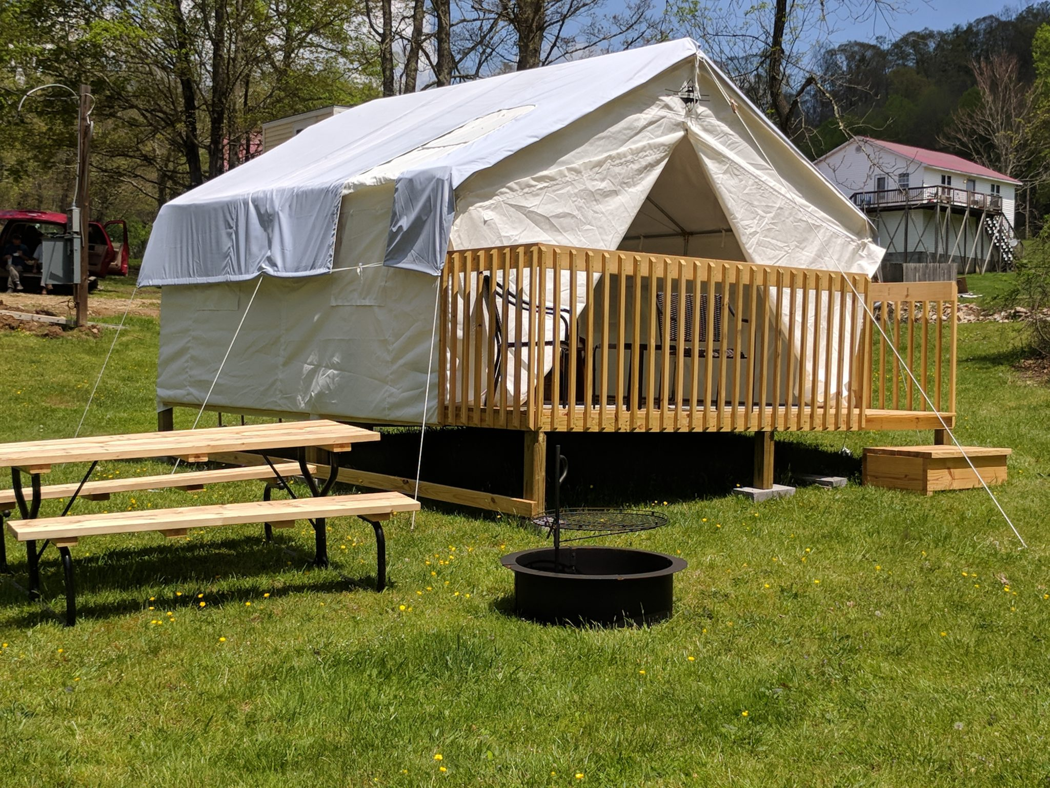 glamping tent with railing