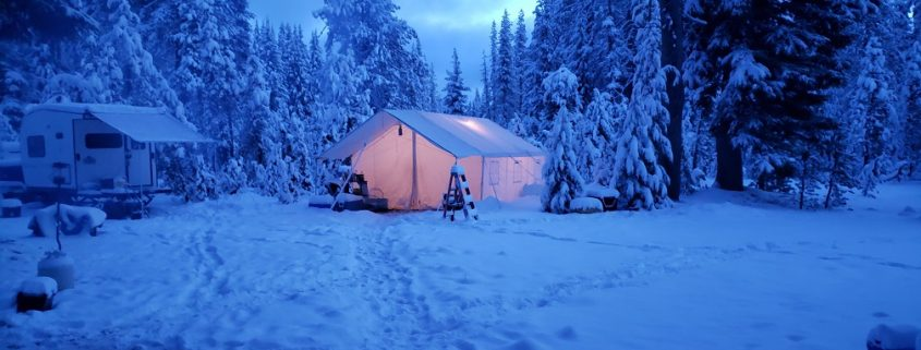 living in a tent winter